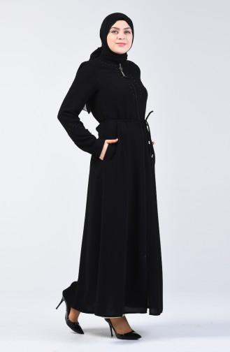 Pearled Abaya 3002-04 Black 3002-04