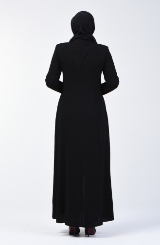 Embroidered Abaya with Pockets 3004-03 Black 3004-03
