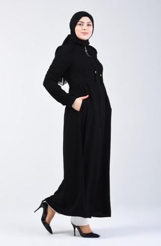 Tasseled Zippered Abaya 3005-01 Black 3005-01