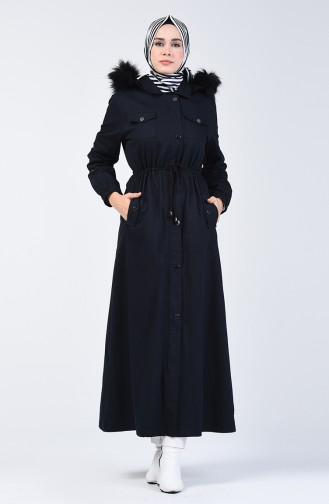 Hooded Long Coat 4042a-01 Navy Blue 4042A-01