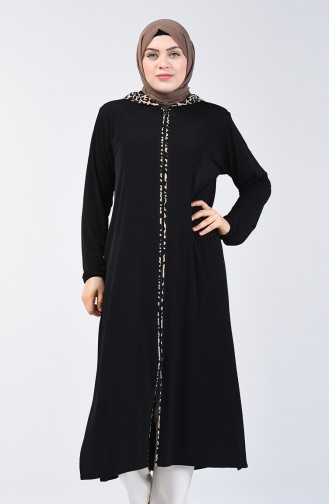 Hooded Zippered Coat 7011-01 Black 7011-01