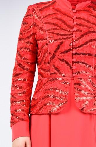Ensemble Deux Pieces Veste Robe de Soirée à Paillettes  6Y7631000B-01 Corail 6Y7631000B-01