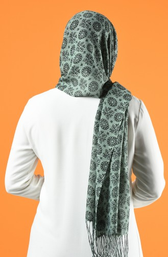 Elmina Patterned Cotton Shawl 910-101 Green 910-101