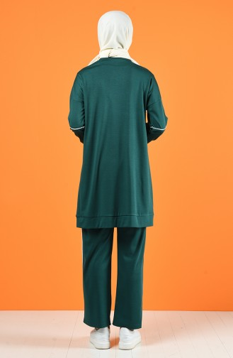 Bie Detailed Tunic Trousers Double Set 8226-05 Emerald Green 8226-05