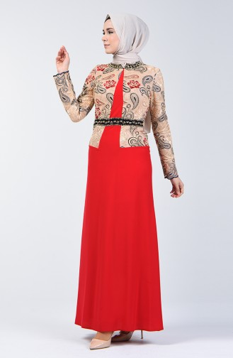 Steiniges Abendkleid 6Y4636400-02 Rot 6Y4636400-02