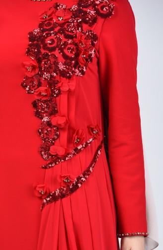 Pullu Abiye Elbise 6Y4636900-02 Kırmızı