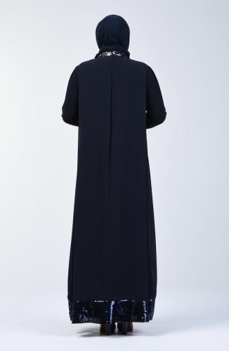 Navy Blue İslamitische Avondjurk 6060-01