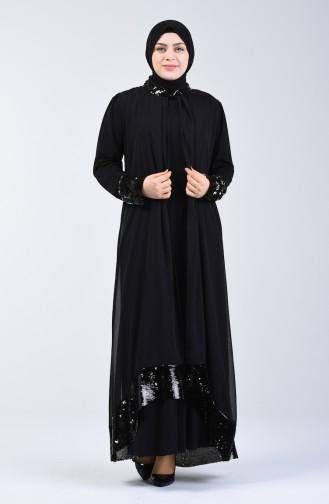 Schwarz Hijab-Abendkleider 6060-02