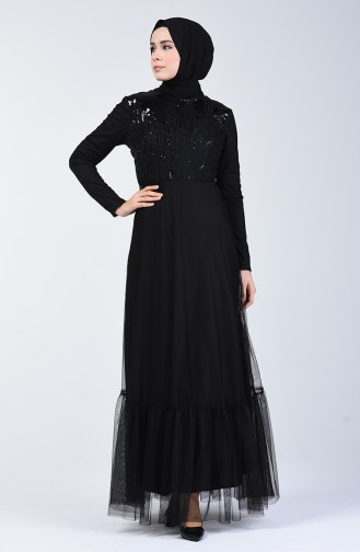 Black Islamic Clothing Evening Dress 5242-03