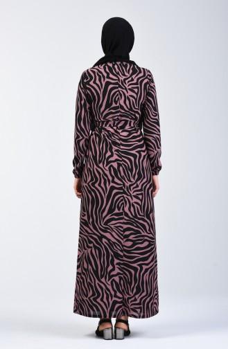Desenli Kuşaklı Elbise 8862-06 Gül Kurusu
