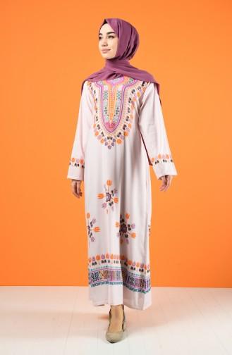 Şile Bezi Desenli Elbise 5555-03 Pembe