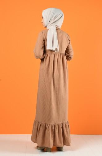 Tie Collar Ruched Dress 1367-07 Mink 1367-07