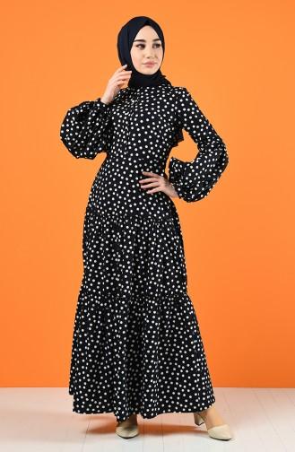 Puantiyeli Elbise 8220-01 Siyah