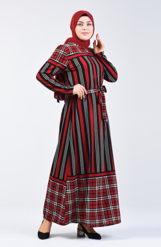 Plus Size Patterned Belted Dress 4556D-02 Red 4556D-02
