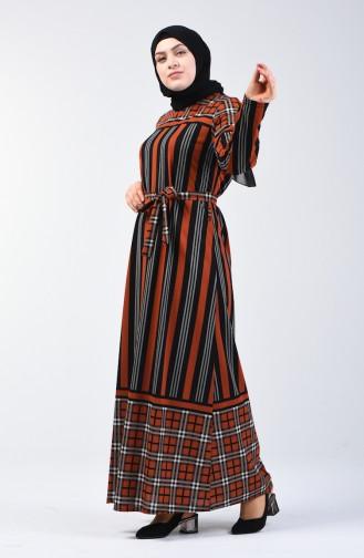 Grösse Grosse Gemustertes Kleid mit Band  4556D-03 Ziegelrot 4556D-03
