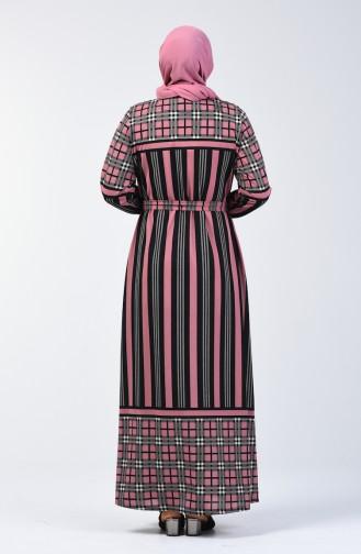 Plus Size Patterned Belted Dress 4556D-04 Dusty Rose 4556D-04