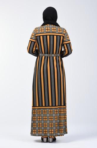 Büyük Beden Desenli Kuşaklı Elbise 4556D-05 Hardal