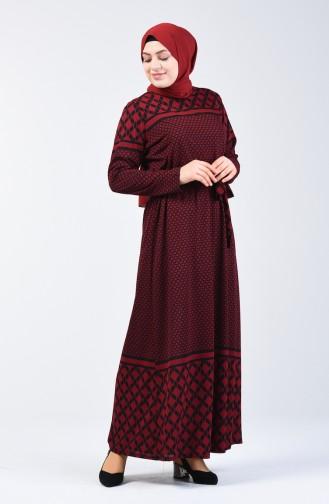 Büyük Beden Desenli Kuşaklı Elbise 4556E-02 Bordo