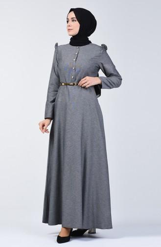 Robe à Froufrous 2555-02 Gris Noir 2555-02
