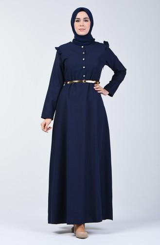 Kleid mit Volant 2555-03 Dunkel Blau 2555-03