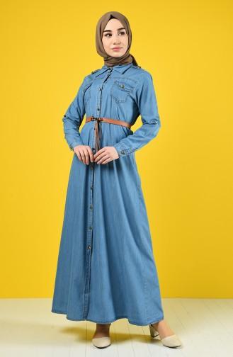 Kemerli Kot Elbise 6058-01 Kot Mavi