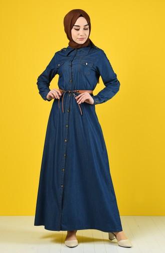 Belted Denim Dress 6058-02 Navy Blue 6058-02