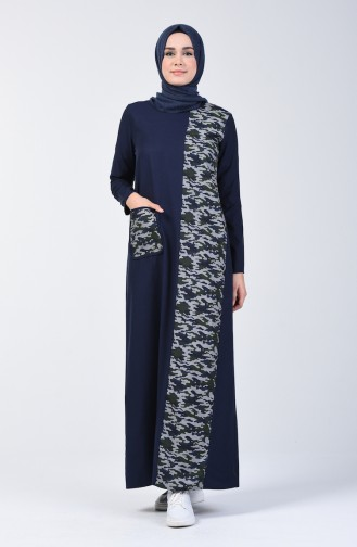 Camouflage Topped Dress 3162-02 Navy Blue 3162-02