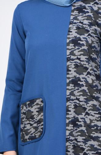 Kamuflaj Garnili Elbise 3162-03 İndigo