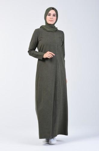 Plaid Topped Dress 3163-02 Khaki 3163-02