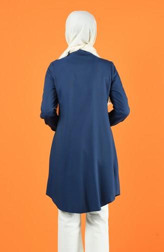 Düğmeli Tunik 8165-04 Mavi