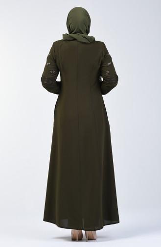 Spitzen Detailliertes Abaya 3000-06 Khaki 3000-06