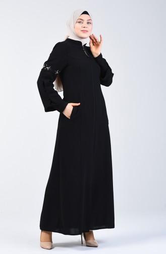 Abaya à Manches Brodé 3003-01 Noir 3003-01