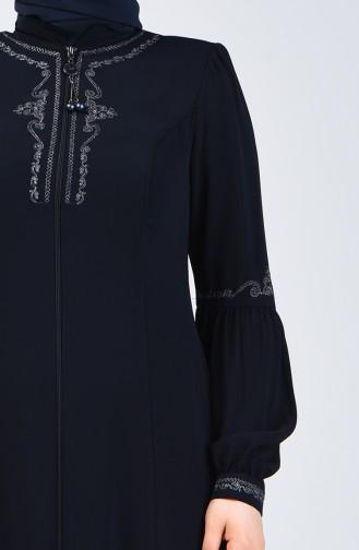 Abaya Brodé Avec Fermeture3006-01 Bleu Marine 3006-01