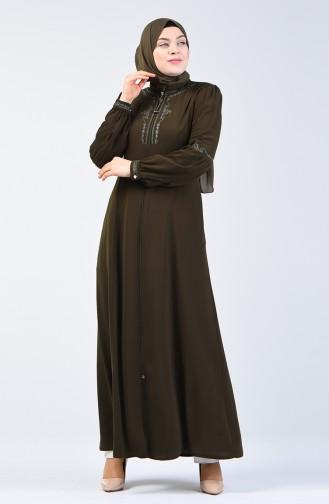 Embroidered Zippered Abaya 3006-05 Khaki 3006-05