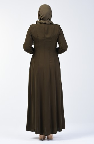 Lacy Zippered Abaya 3007-02 Khaki 3007-02