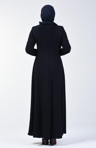 Lacy Zippered Abaya 3007-03 Navy Blue 3007-03