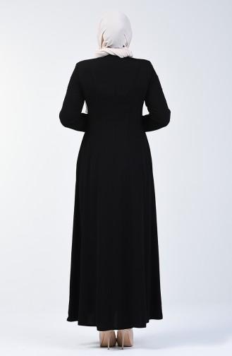 Lacy Zippered Abaya 3007-04 Black 3007-04