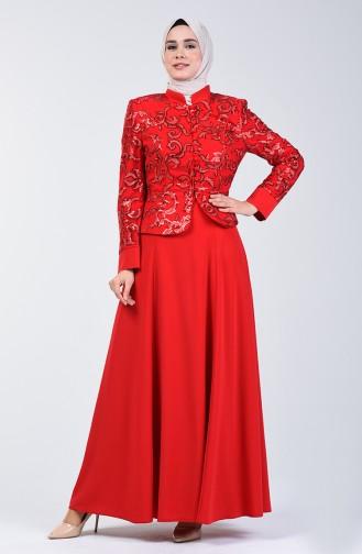 Payetli Abiye Ceket Elbise İkili Takım 6Y7631000A-01 Kırmızı