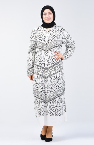 Ecru İslamitische Jurk 4444-01