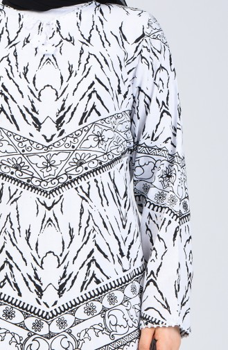 Şile Cloth Patterned Dress 4444-02 White 4444-02