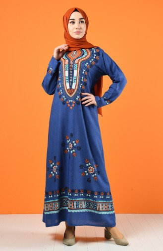 Indigo İslamitische Jurk 5555-09