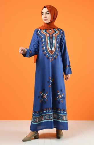 Gemustertes Kleid aus Şile-Stoff  5555-09 Indigo 5555-09