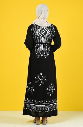 Robe à Motifs Tissu Şile 5555-10 Noir Blanc 5555-10
