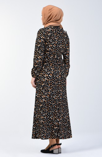Desenli Kuşaklı Elbise 0362-01 Siyah Taba