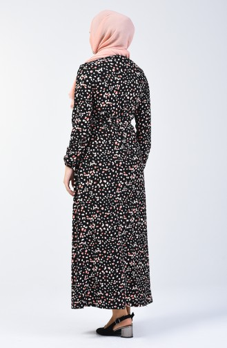 Patterned Belted Dress 0362-03 Black Powder 0362-03