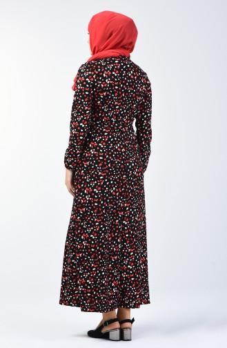 Patterned Belted Dress 0362-04 Black Red 0362-04