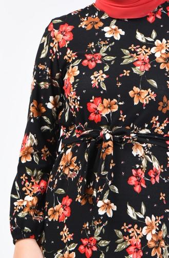 Patterned Belted Dress 0363-01 Black Red 0363-01