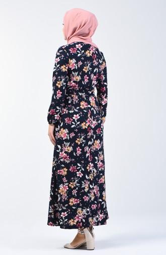 Patterned Belted Dress 0363-02 Navy Blue Lilac 0363-02