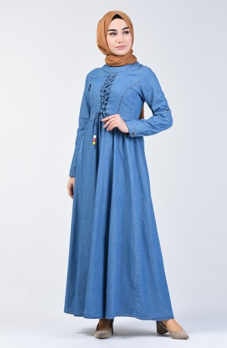 Jeansblau Hijap Kleider 6139-02