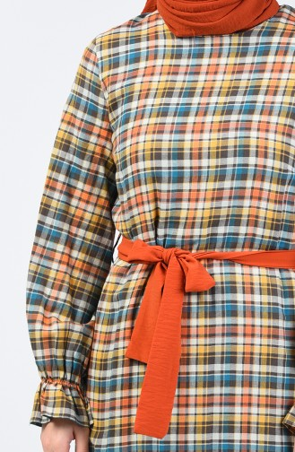Robe à Manches Élastiques Avec Ceinture 33874-01 Brique 33874-01